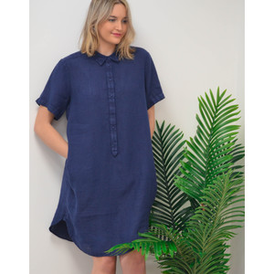 120% Lino Shirt Dress Dark Blue