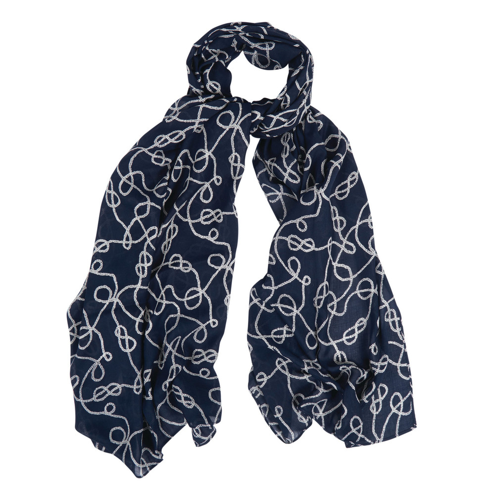 Barbour Rope Print Wrap Royal Blue