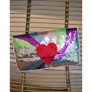 Paradi Poetry Sequin Clutch Lilac Snow