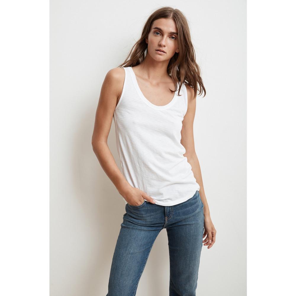 Velvet Jen Vest Top White