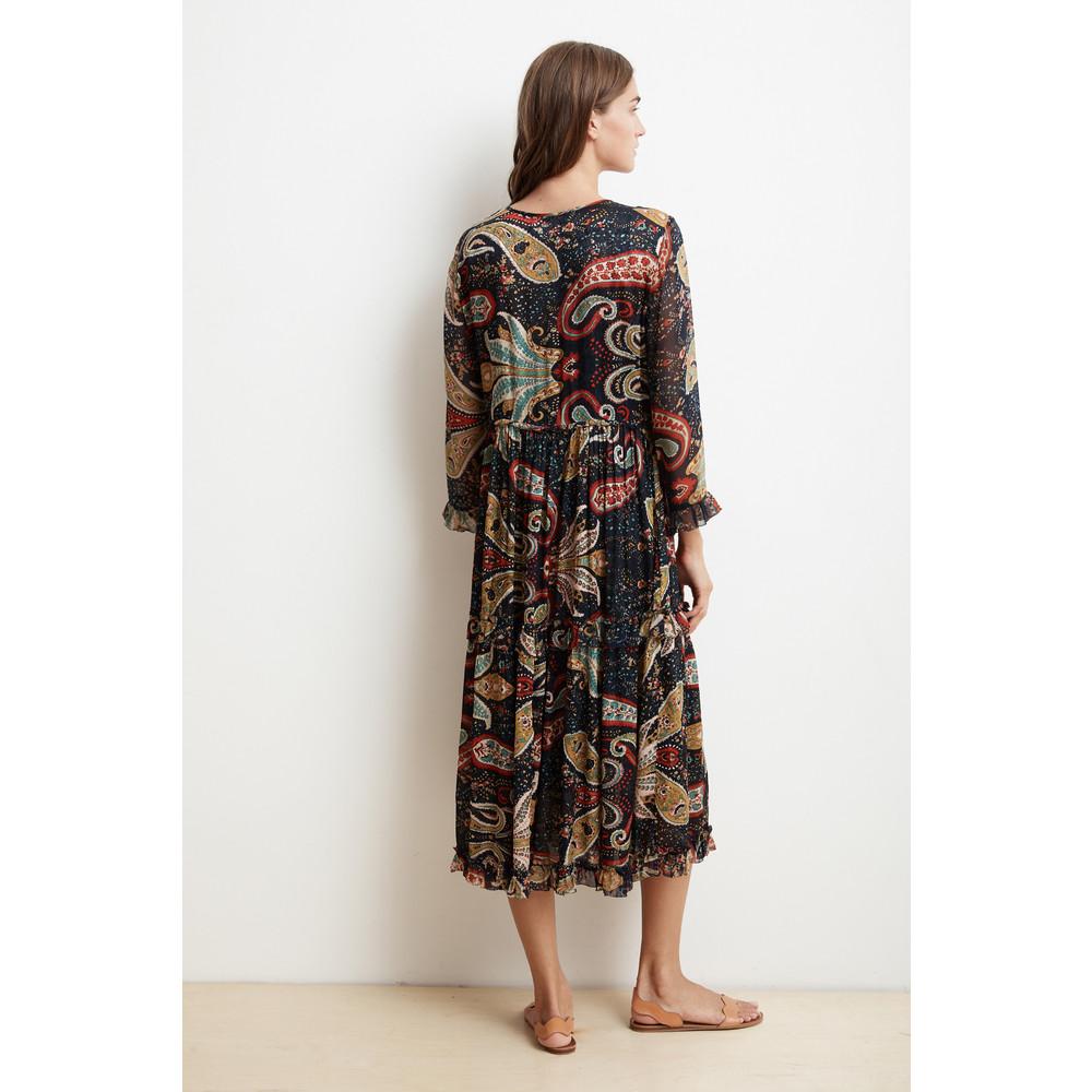 Velvet Glimmer Ruffle Long Sleeve Dress Paisley Print