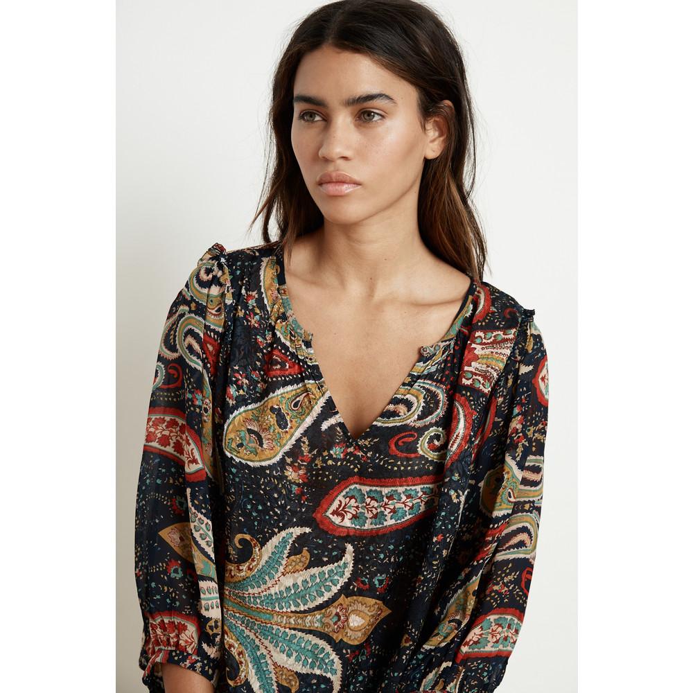Velvet Paola Long Sleeve Ruffle Top Paisley Print
