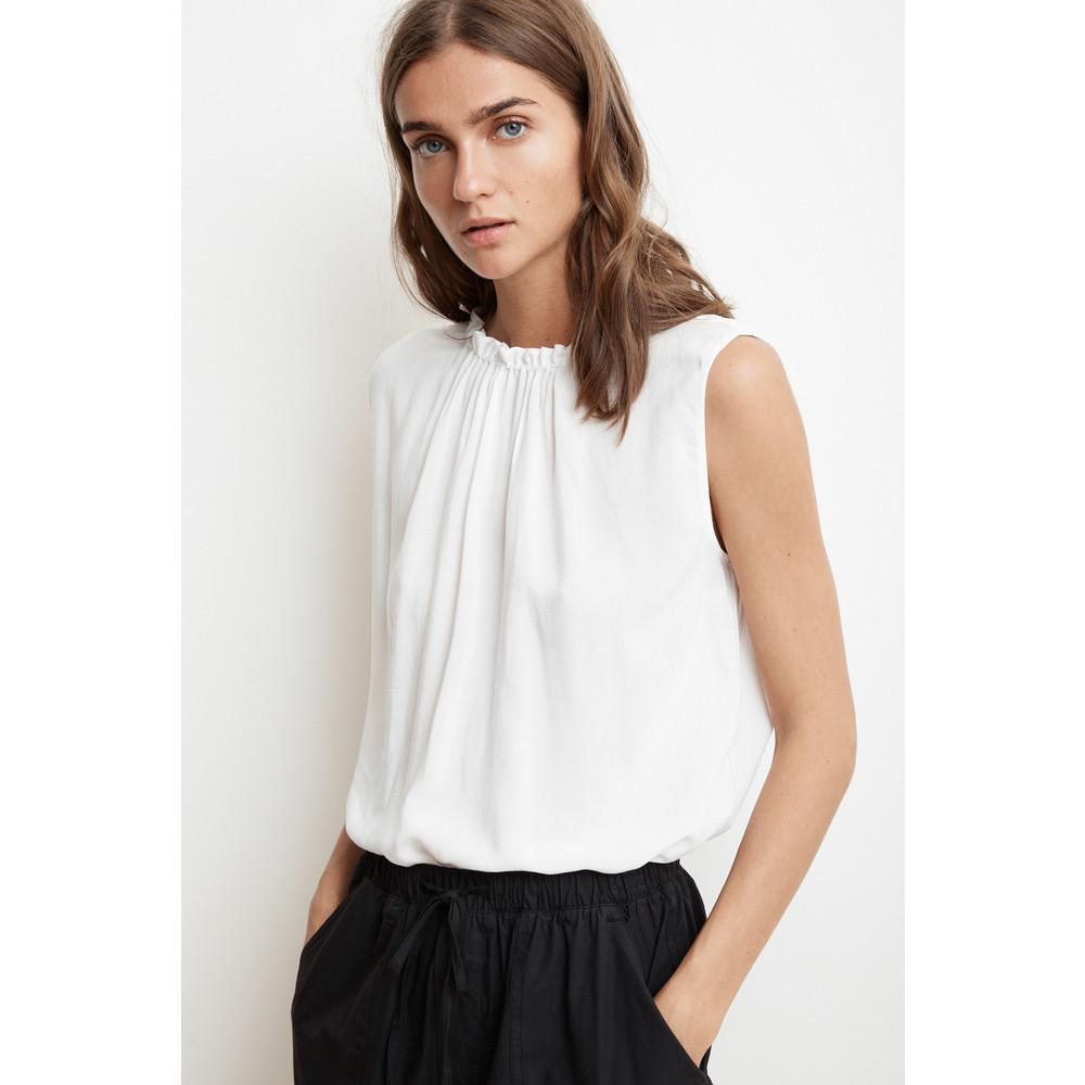 Velvet Wenna Sleeve Less Ruff Neck Top White