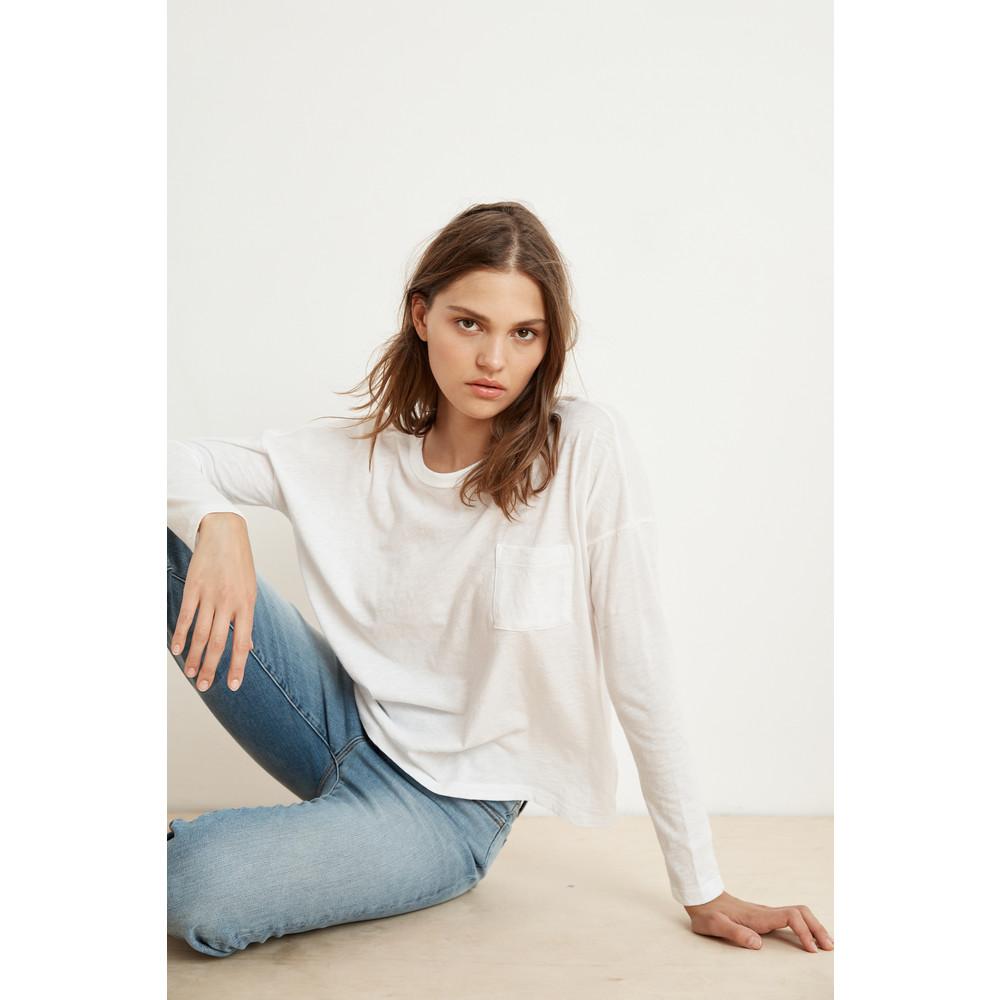Velvet Yarrow Long Sleeve Box Fit Top White