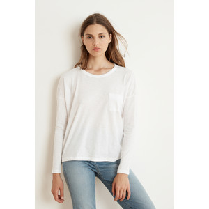 Yarrow Long Sleeve Box Fit Top White