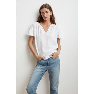 Jennifer Short Sleeve Linen Top White