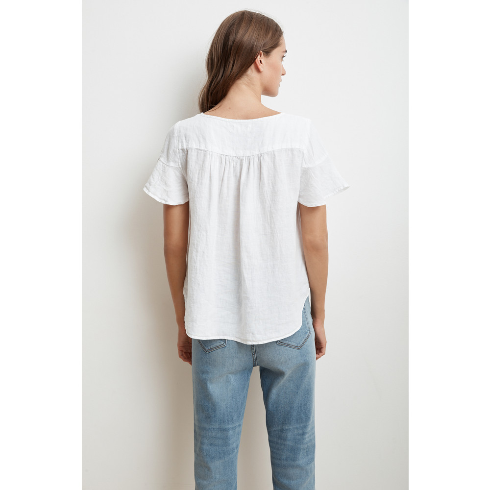 Velvet Jennifer Short Sleeve Linen Top White