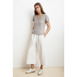 Bobbi Short Sleeve V Neck Knit Metallic