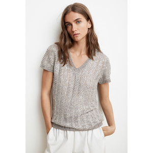 Velvet Bobbi Short Sleeve V Neck Knit Metallic