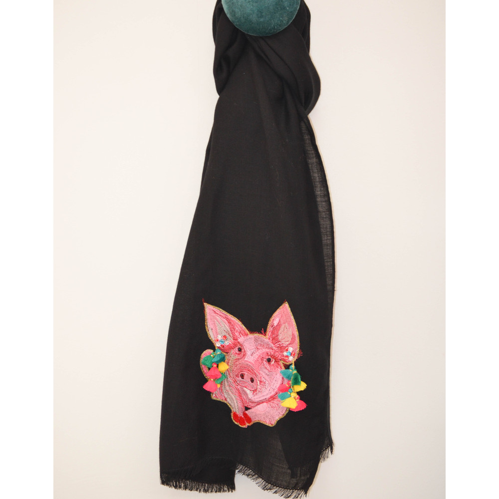 Paul Smith Accessories Emb Pig Scarf W/Jewel Earrings Black