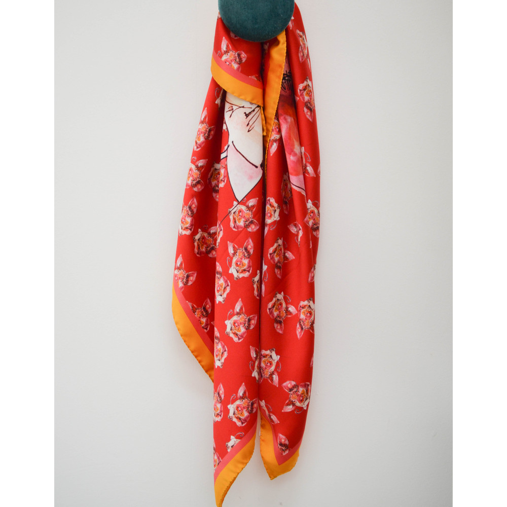 Paul Smith Accessories Pig Print Scarf Coral
