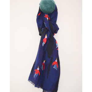 Paul Smith Accessories Flying Fuchsia Wool Scarf Navy