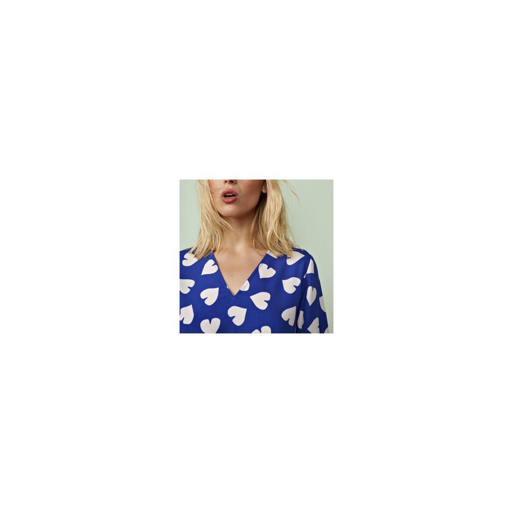 Essentiel Antwerp Seamus Heart Print Dress Blue