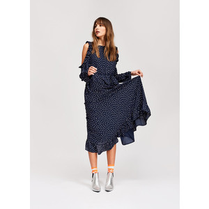 Slayer Open Shoulder Dress Navy/Silver