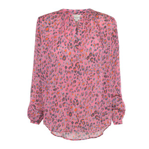 Sandy Leo Print Long Sleeve Top Pink