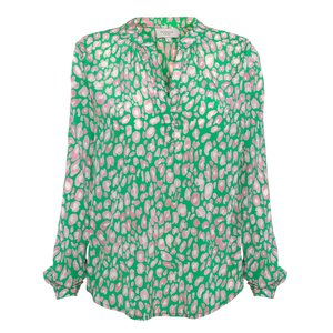 Sandy Leo Print Long Sleeve Top Green