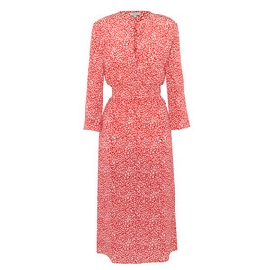 Tiffany Long Sleeve Leo Pattern Dress Red