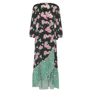 Paloma Wrap Floral Dress Black