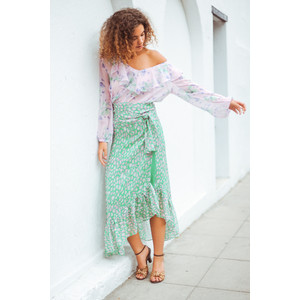 Simi Leo Print Wrap Skirt Green