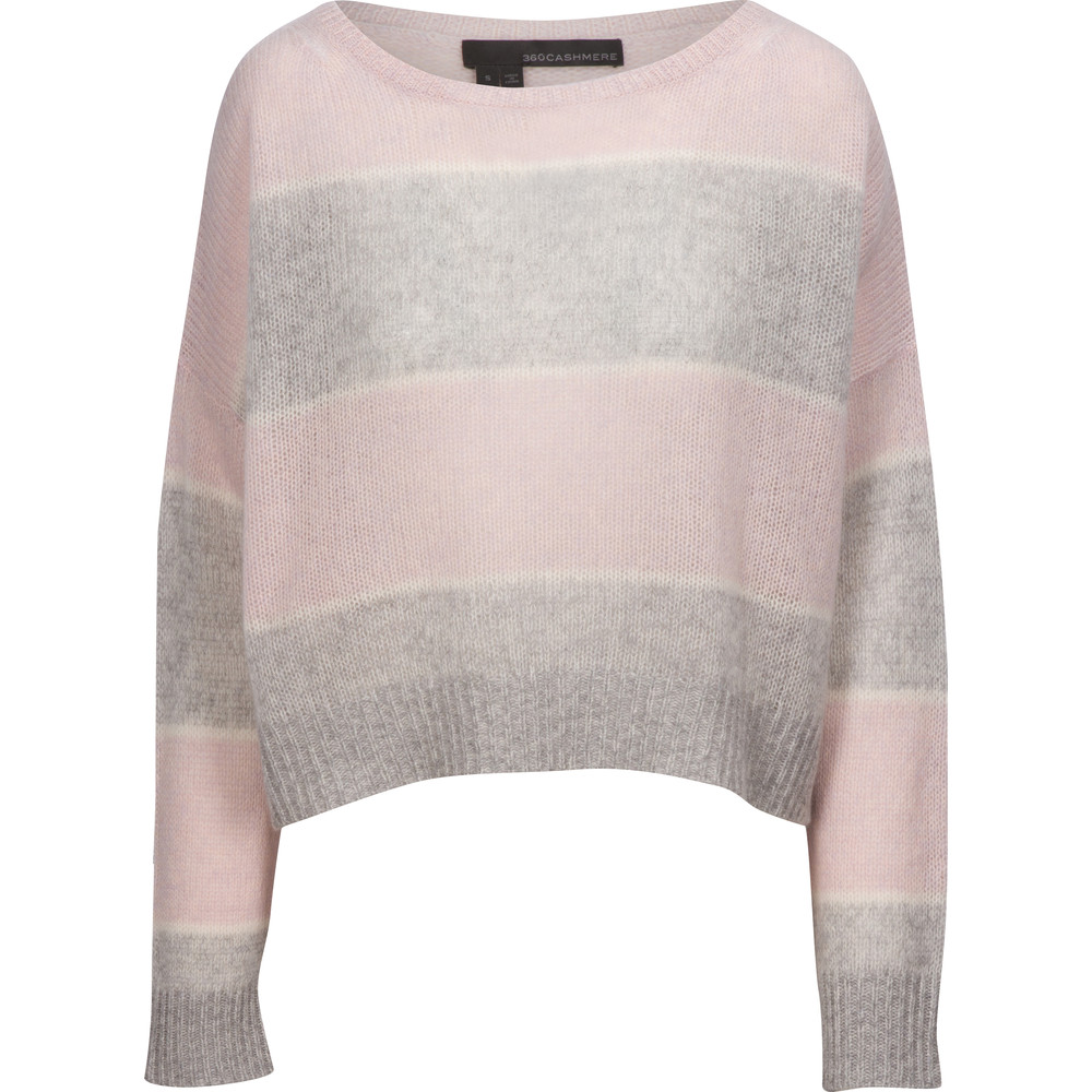 360 Sweater Constance Stripe Crop Knit Purple Haze/Grey