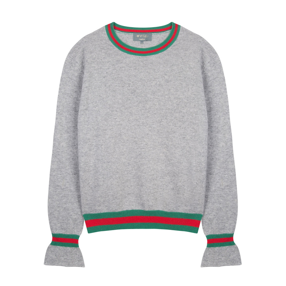 Wyse London Marine Ruffle Sleeve Knit Grey/Green/Red