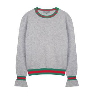 Marine Ruffle Sleeve Knit Grey/Green/Red