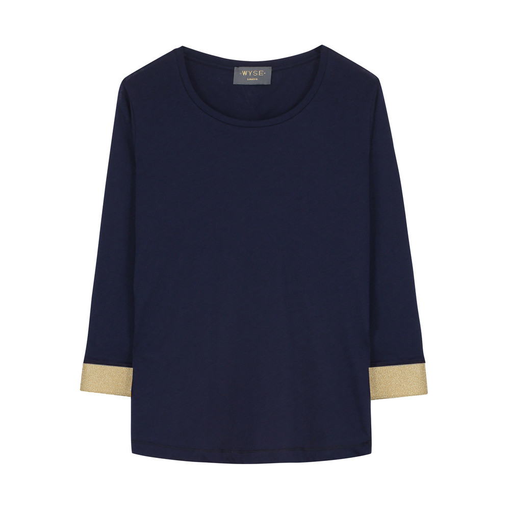 Wyse London Lurex Cuff Mid Sleeve Top Navy/Gold