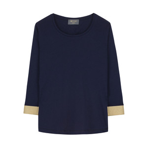 Lurex Cuff Mid Sleeve Top Navy/Gold