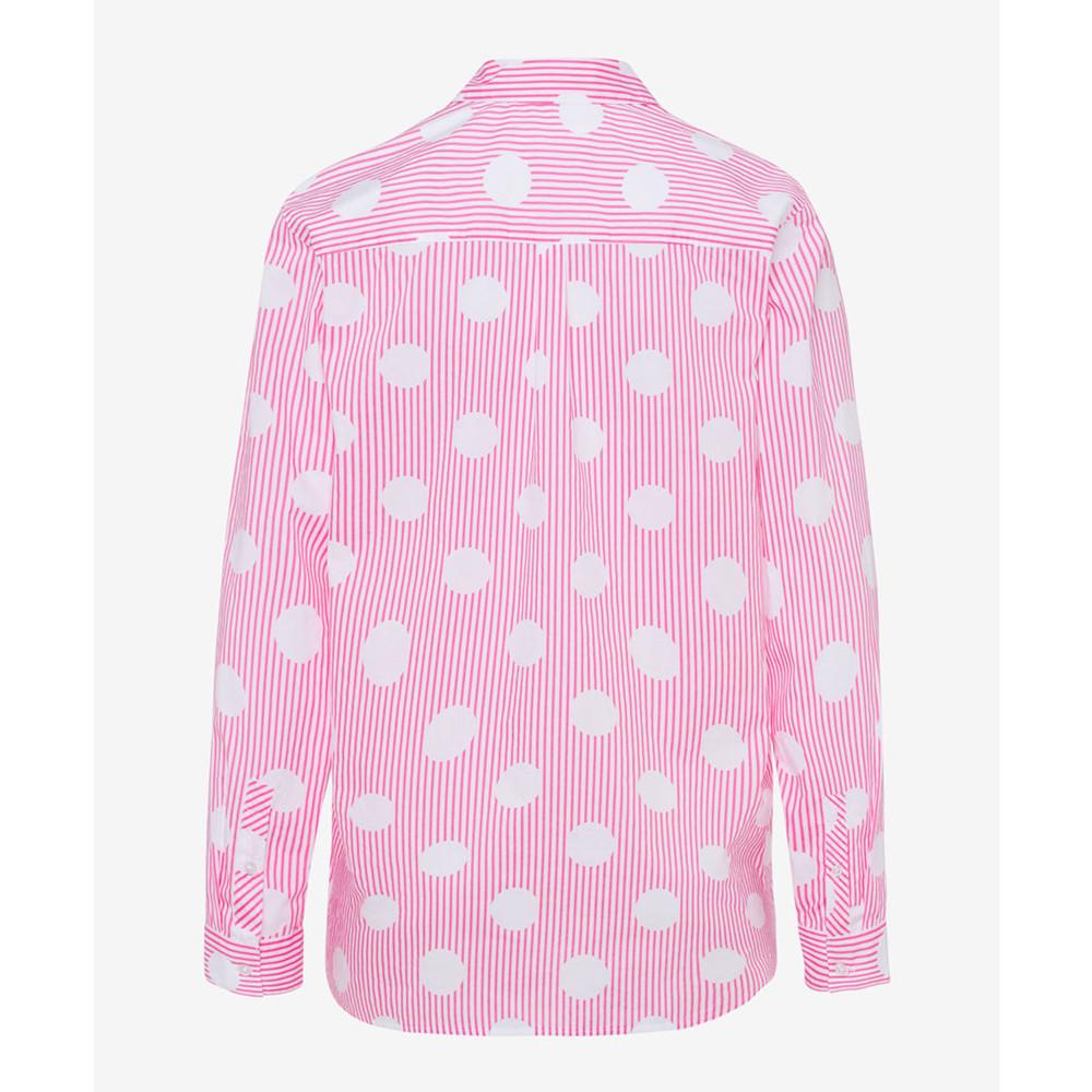 Brax Victoria Spot Stripes Shirt Pink/White