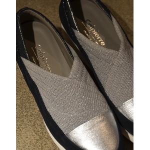 Calpierre Stretch Wedge Shoe in Blue/Silver
