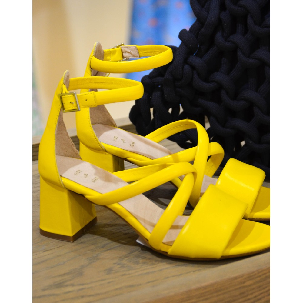Shoe The Bear May Puff Strappy Heeled Sandal Yellow