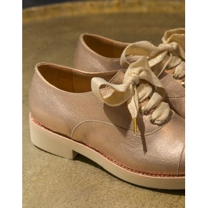 Heeled Lace Up Brogue Metallic Gold