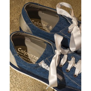 Calpierre Lace Up Wedge Trainer Jean Stone Wash