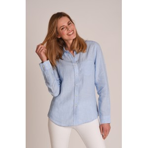 Schoffel Country Saunton Linen Shirt in Linen Light Blue