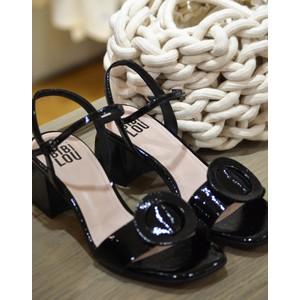 Bibi Lou Patent Square Heel Shoe Black