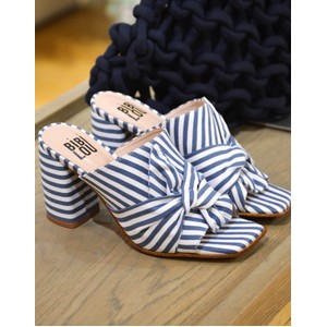 Striped Heeled Mule Azure/White