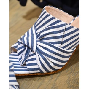 Bibi Lou Striped Heeled Mule Azure/White