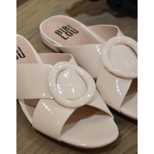 Bibi Lou X Over Patent Flat Sandal Off White