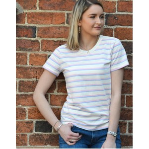 Levete Room Eika Short Sleeve Striped T Shirt White/Multi