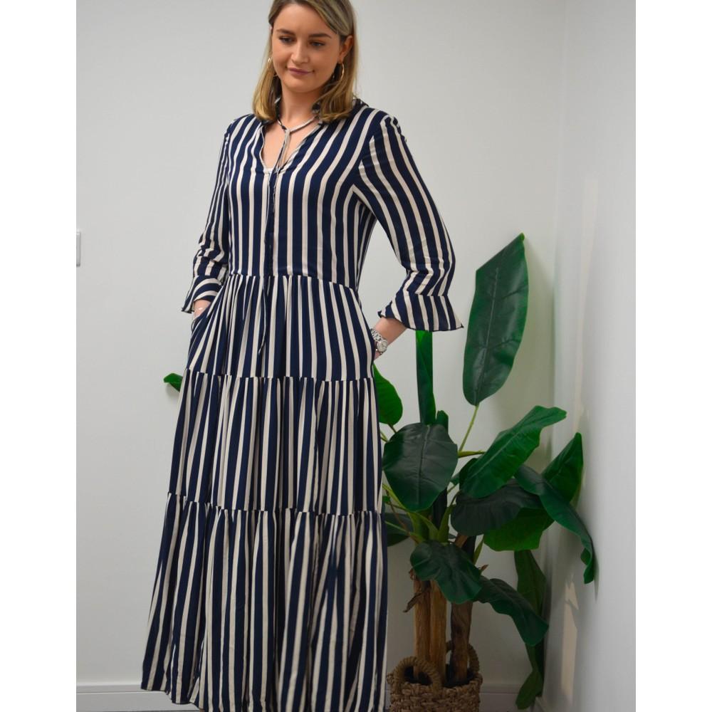 Lollys Laundry Liliya Stripe Dress Navy/White
