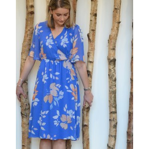 Audrey S/S Hera Dress Blue/Peach