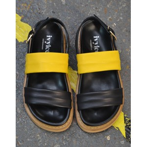 Sarah Wide Strap Sandal Black/Yellow