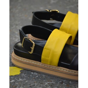 Ivylee Sarah Wide Strap Sandal Black/Yellow