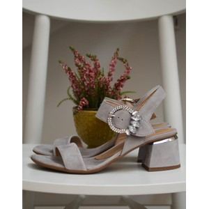 Gem Buckle Suede Sandal Grey