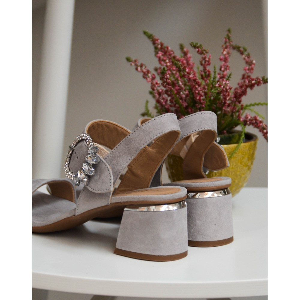 Alpe Gem Buckle Suede Sandal Grey