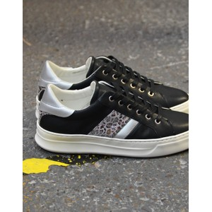 Crime London Sonic Leopard Stripe Trainer Black/Silver
