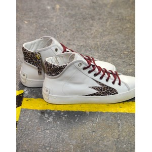 Crime London Faith Hi Explosion Trainer Off White/Leopard