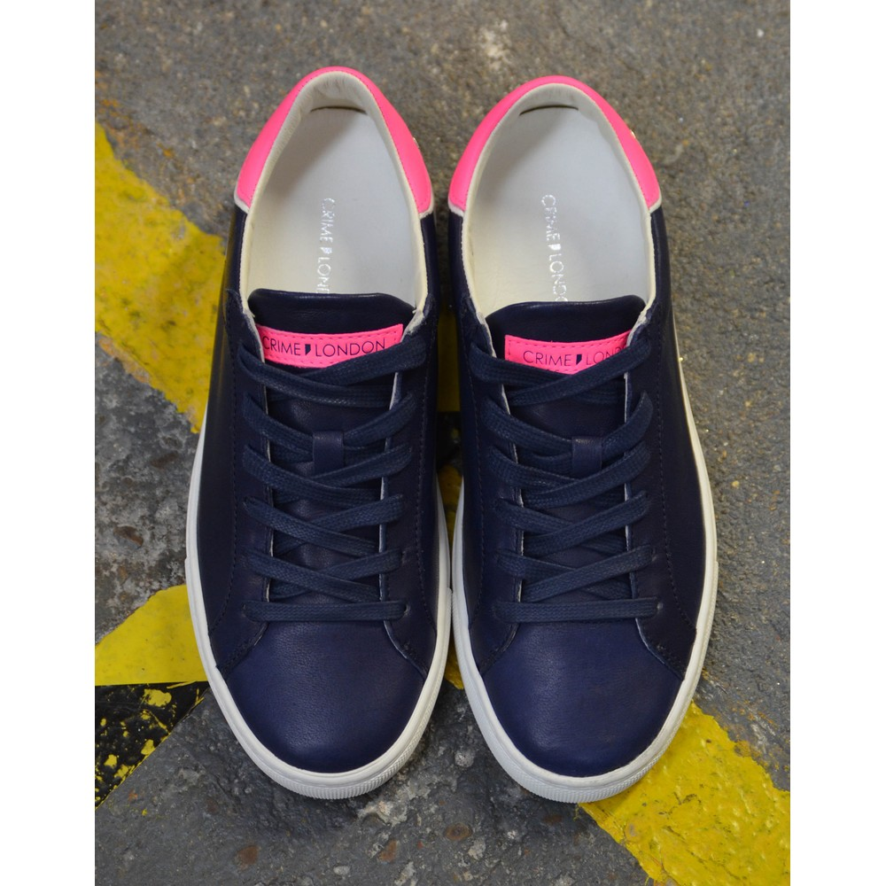 Crime London Beat Trainer Navy/Neon Pink