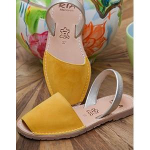 Suede Peep Toe Sandal Mustard