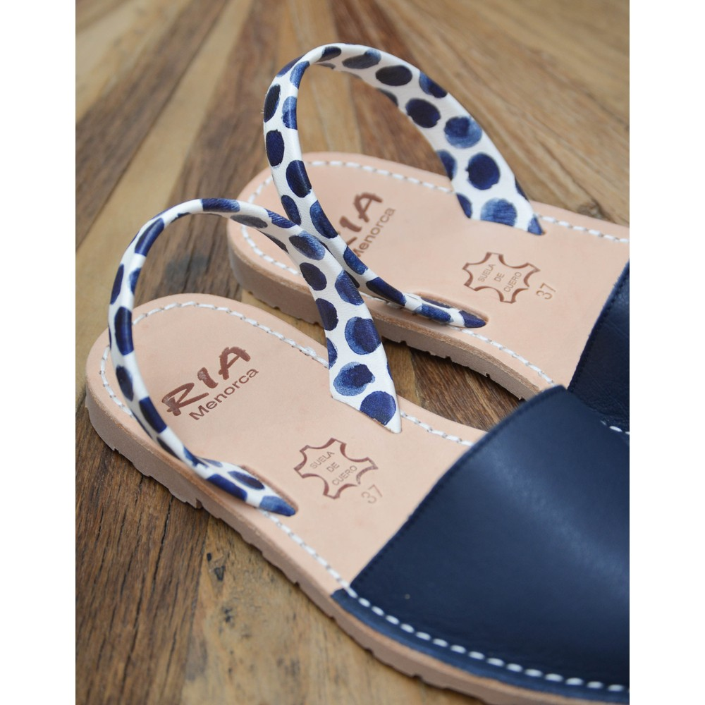 Ria Menorca Leather Peep Toe Sandal Navy/White